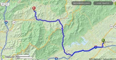 Directions from Spruce Pine NC, to Clearmont Elementary